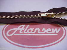 1M No10 XX VERY HEAVY DUTY  BROWN / BRASS CONTINUOUS SMOOTH DRAW ZIP