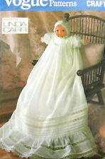 "Vtg 80s Linda Carr Vogue Christening Gown doll dress 16"" pattern bonnet Bye Lo"