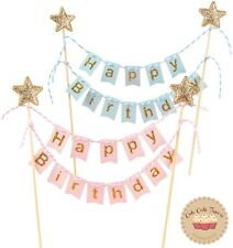 ⭐Happy Birthday Cake Topper Flags Bunting Banner Party Cake Decoration for Kids⭐