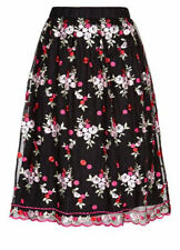 Stunning BLACK floral textured embroidered mesh lace over Aline SKIRT 18 NEW