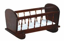 Children's Toy Doll Oak Cradle with Spindles - Amish Made in Usa