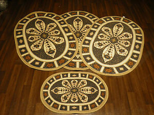 ROMANY GYPSY WASHABLES CROWN DBY FULL SET OF 4  MATS-RUGS NON SLIP TOURER SIZE