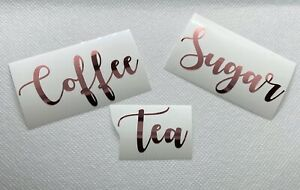 ROSE GOLD CHROME Vinyl Stickers Labels Pantry Tea Coffee Sugar Kitchen Jars #01