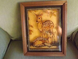 """Vintage Lulu's Inc Framed Deer Picture On Glass  1978    11""""x 9"""""""