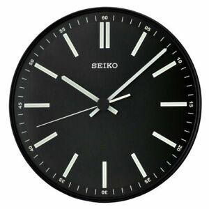 "Seiko Terrier 11"" Analog Quartz Quiet Sweep Black Metallic Wall Clock QXA521JLH"