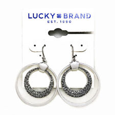 $29 Lucky Brand Silver Tone Shiny Pave Stone Double Hoop Drop Earrings