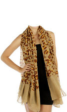 Scarf Brown Tan Leopard Shawl Scarves Neck Wrap with Sparkles