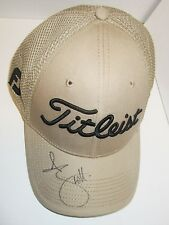 ADAM SCOTT HAND SIGNED TITLIEST BROWN GOLF CAP + PHOTO PROOF C.O.A
