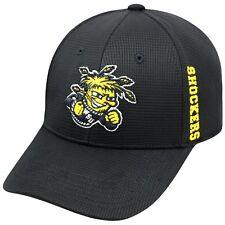 WICHITA ST. STATE SHOCKERS NCAA BLACK STRETCH FLEX FIT 1-FIT TOW CAP HAT NWT!