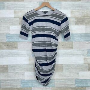 A Pea In The Pod Maternity Striped Brushed Cotton Tunic Tee Gray Blue Womens XS
