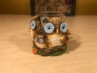 YANKEE CANDLE Hand Painted Owl Votive Holder with Squirrel Woodlands ~ NEW