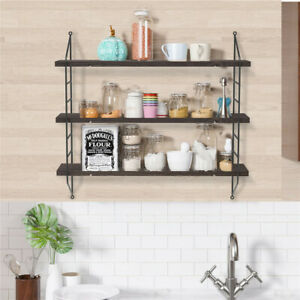 Rustic 3-Tier Wall Mounted Floating Shelves Wall Shelf Book Storage Rack Decor