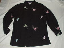 SUSAN GRAVER Style BLACK long sleeve Embroidered BUTTERFLY SHIRT Top Size XS