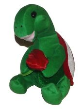 Goffa Int'l Corp Turtle Rose Red Green Plush Lovey 9 inch Stuffed Animal Toy