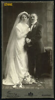 Larger size Cabinet Card by GANZ, wedding, bride w flowers, top hat,  1912