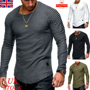 Mens Long Sleeve T-shirts Plain Muscle Fit Crew Neck Fold Blouse Casual Tops Tee