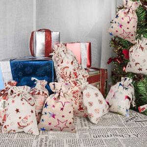 20x Jute Hessian Drawstring Bags Natural Burlap Wedding Xmas Favor Gift Bags UK