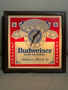 Vintage Budweiser Beer AC Electric Light Sign - Clock. - Lakeside Industries Inc
