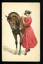 Artist Signed Vintage postcard Rappini , Well dressed woman hat w/ horse