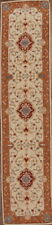 Traditional Floral Ivory Oushak Agra Oriental Runner Rug Hand-Tufted Wool 3'x12'