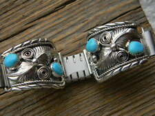 Sterling silver Navajo signed mens watch band 4 blue turquoise stones cut border