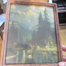 Antique Landscape  Framed print Elk in River, Mountains ,Glass pre-owned  10 1/2