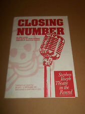 "STEPHEN JOSEPH THEATRE "" CLOSING NUMBER "" PROGRAMME 1991 EXCELLENT"
