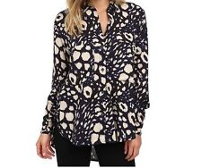 Vans Blouse Womens/Juniors San Juan Woven Blue Animal Print Cutout Back M