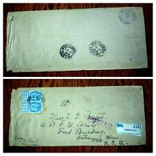 """VERY RARE INDIA """"USED IN BURMA 1918 RARE """"MANDALAY"""" REGISTERED LABEL COVER """"ONLY"""