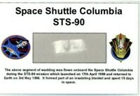 Own a Piece of Space Shuttle Columbia STS-90 - Flown in Space - For Just $9.95