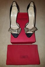 VALENTINO Couture-Jeweled Bow Black Satin d'Orsay Pump $995 Size 41