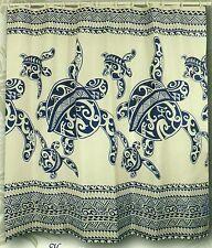 Blue Happy Sea Turtle Family Hawaiian Fabric Shower Curtain