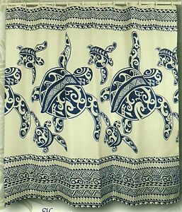 Blue Turtle Hawaiian Fabric Shower Curtain Animal Print Hawaii water repellent