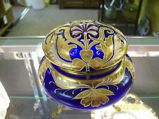 BOHEMIAN MOSER COBALT BLUE ENAMEL GOLD GILTED BRASS FIGURAL BASE