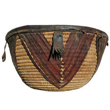 a great old african basket with leather decoration  nigeria #4
