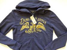 Ralph Lauren Denim and Supply Navy Blue Eagle Print Zip Up Hoodie Jacket S