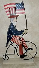 New Patriotic red white blue Uncle Sam on a bike waving a flag tabletop decor