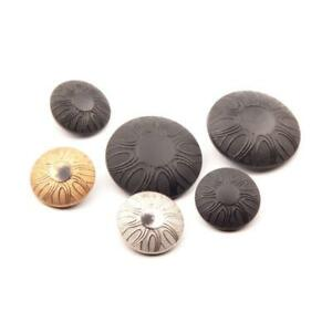 Collection (6) Czech Art Deco geometric flower black silver gold glass buttons