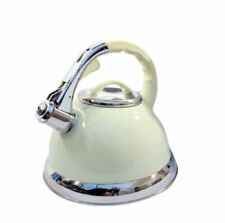 3.5L Stainless Steel Whistling Kettle with Silicone Handle Cream