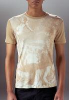 Marteino Men's Narcissus Silk Printed Crew Neck Tee Shirt