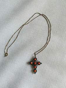Vintage Blue & Orange Sterling Silver Cross Necklace, Made in Italy, Marked 925