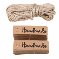 100pcs Handmade Kraft Paper Hang Tags Wedding Party Label Gift Card W/ Hemp Rope