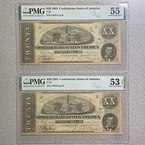 2 PC Consecutive Serial Numbers $20 1863 Confederate States of America T-58 PMG