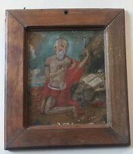 Saint Jerome & Lion 19th Century Oil on Tin Painting