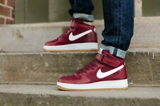 Nike Air Force 1 Mid Taille UK 8.5 Eur 43 Hommes Baskets Hi Top Red White