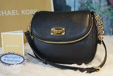 NWT Michael Kors BEDFORD Small Flap Crossbody Bag Pebbled Leather In BLACK $178