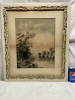 Vtg Watercolor Original? Artist Framed Picture Trees Waterfall Bird Stream scene