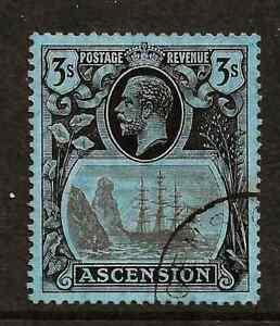 ASCENSION (Y-029) 1924 SG20 3/-GREY-BLK-BLK-BLUE  FINE  USED EXAMPLE