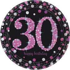 8 x Pink Celebration Age 30 Paper Plates Pink & Black 30th Birthday tableware
