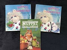 """Two """"The Muppets Take Manhattan"""" Book Record 33 1/3Rpm + Muppet Picnic Cookbook"""